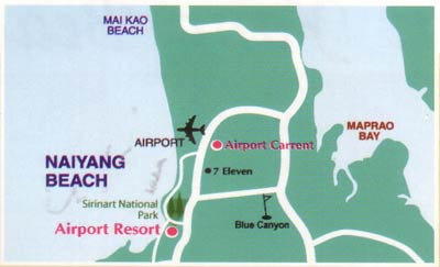 Map to Airport Car Rent - Autos Cars Vans Jeep Rentals Phuket Thailand